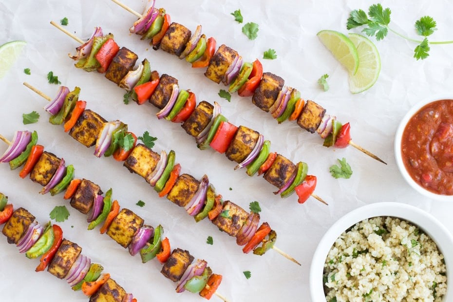 15 of the Best Vegetarian Grilling Recipes: Fajita Kebabs with Cilantro Lime Quinoa