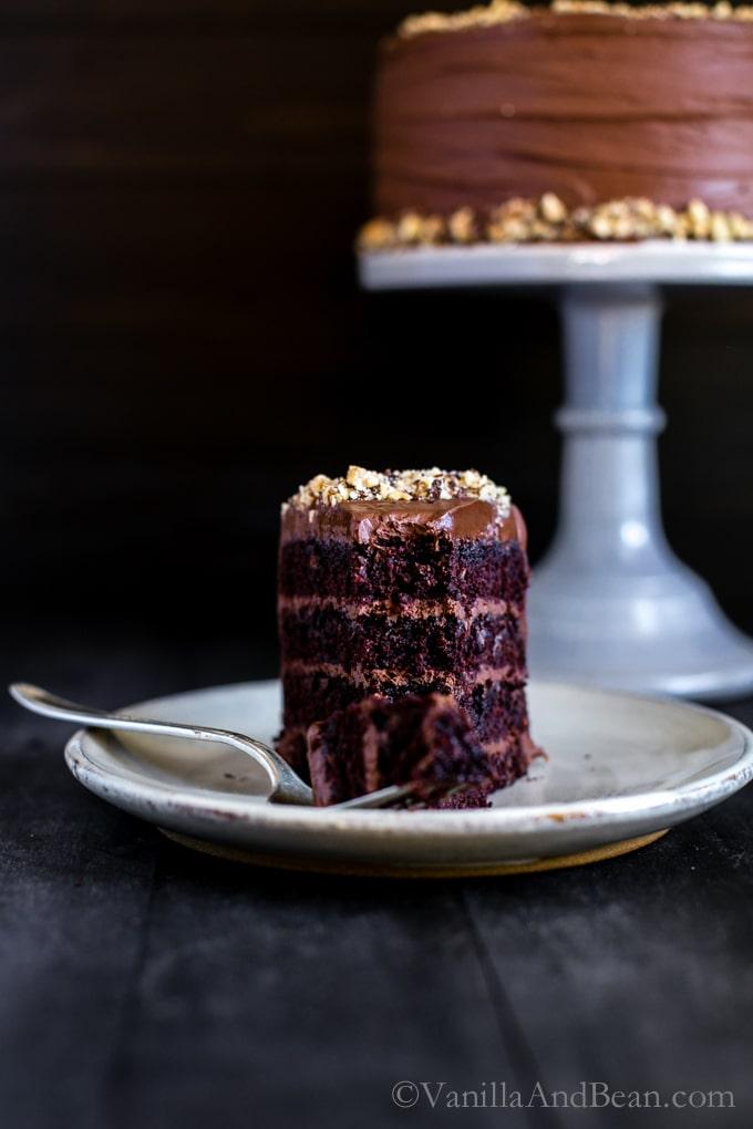 25 Drool-Worthy Chocolate Cake Recipes: Vegan Chocolate Hazelnut Cake with Whipped Ganache