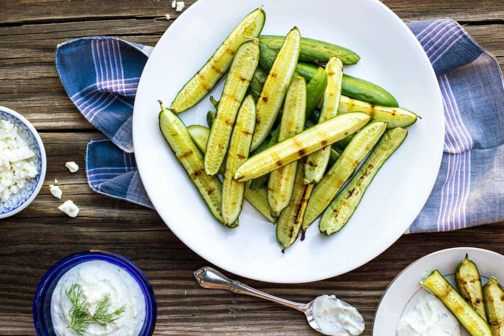 15 of the Best Vegetarian Grilling Recipes: Grilled Cucumbers with Creamy Pickled Feta Dip