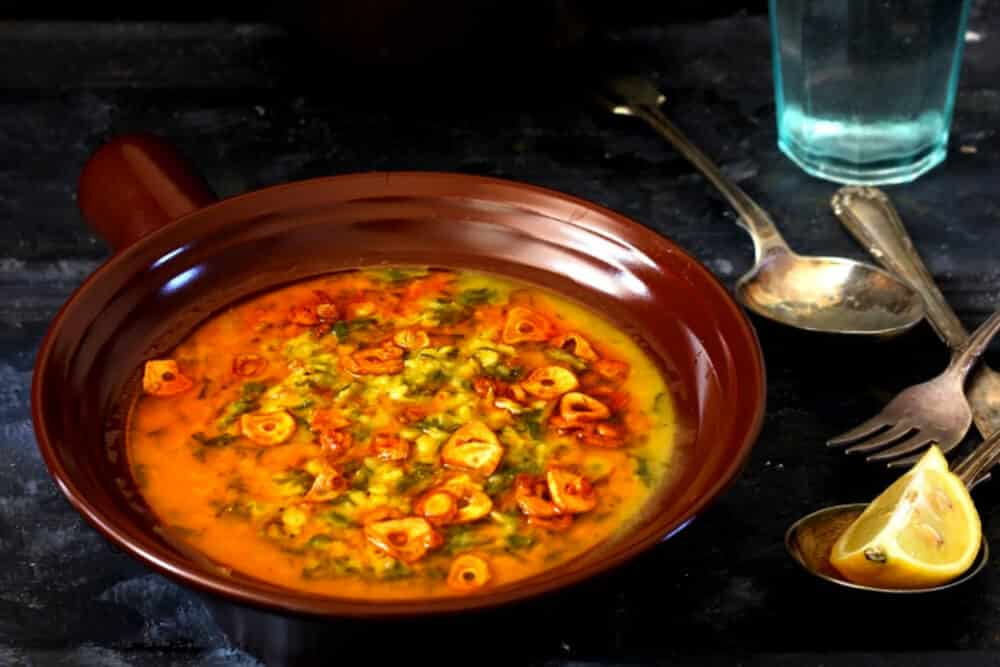 What To Do With Carrot Greens,10 Inspiring Ideas: Garlicky ( Lahsuni ) Moong-Masoor Daal with Carrot Greens