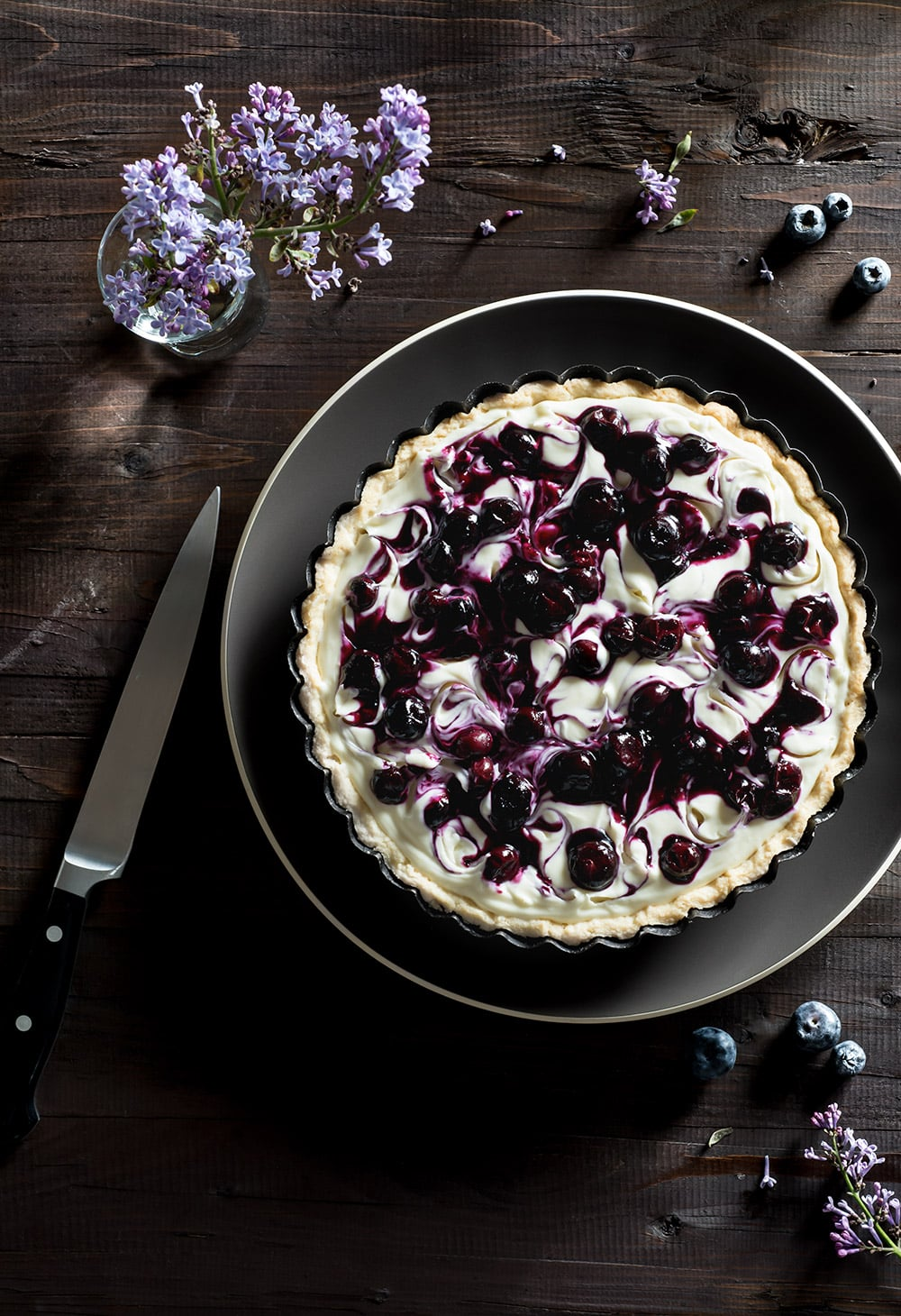 15 Recipes That Take New York Cheesecake to the Next Level: Blueberry Ginger Swirl Cheesecake with Creme de Cassis and White Chocolate