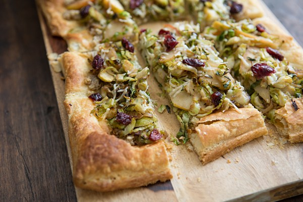 20 Savory Apple Recipes to Try This Fall: Brussels Sprout Apple Tart with Walnut Pesto