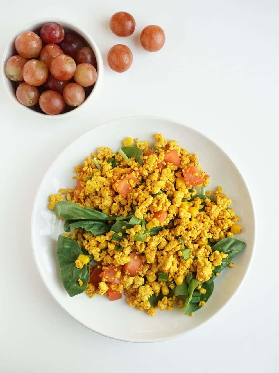 49 Savory Vegan Breakfast Recipes: Simple Vegan Tofu Scramble with Corn