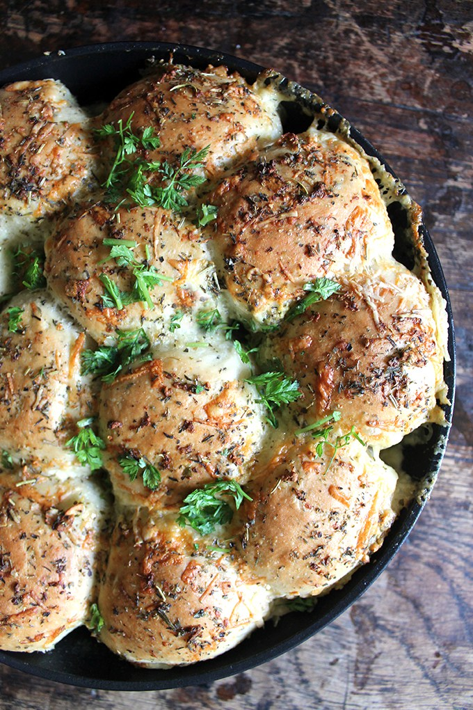 Creative Dinner Roll Recipes | Easy Cheesy Garlic and Herb Skillet Rolls