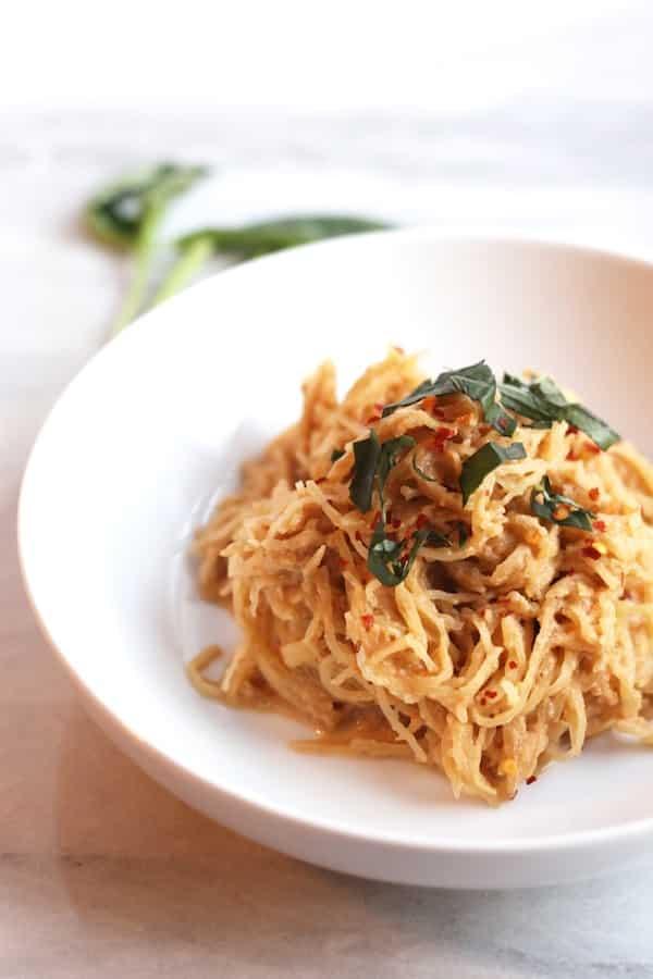 32 Creative Spaghetti Squash Recipes: Spaghetti Squash with Vegan Tomato Basil Cream Sauce