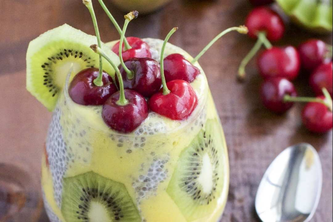 18 Chia Seed Pudding Recipes Everyone Will Love: Kiwi mango Cherry Chia Seed Pudding