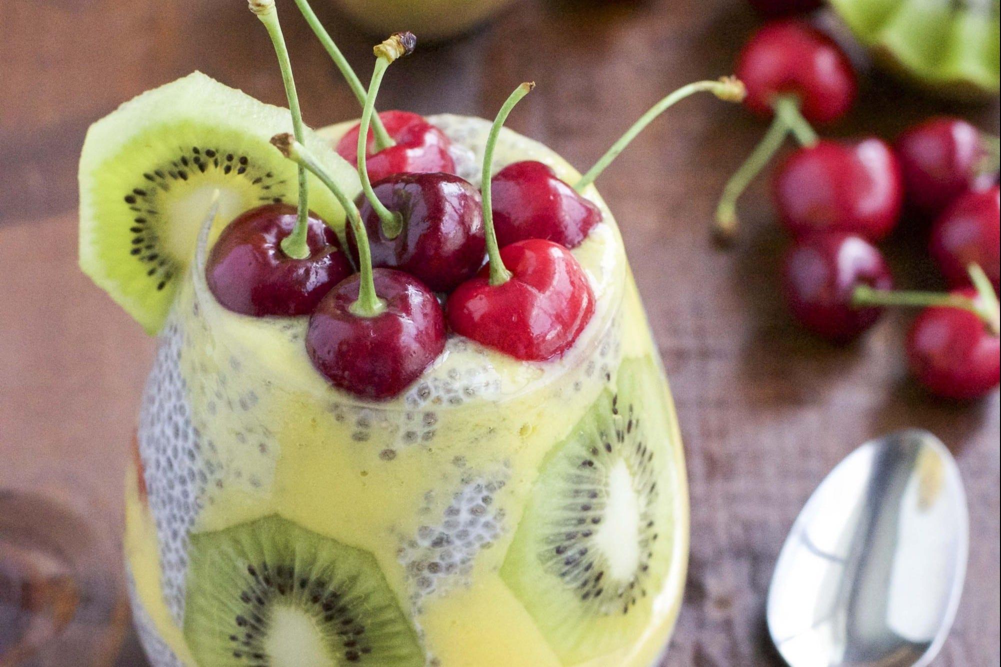 18 Chia Seed Pudding Recipes Everyone Will Love: Kiwi mango Cherry Chia Seed Pudding