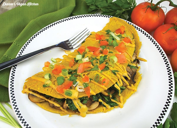 49 Savory Vegan Breakfast Recipes: Vegan Spinach Mushroom Omelet