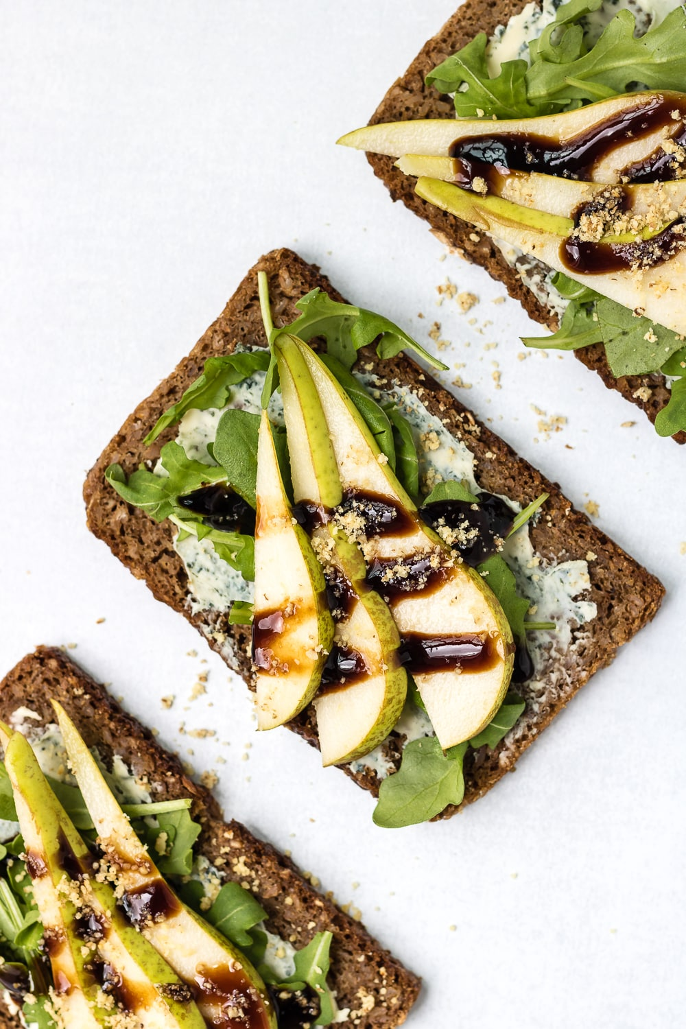 Open-Faced Walnut & Pear Sandwich with Blue Cheese