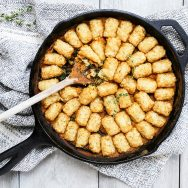 Pumpkin, Mushroom, and Spinach Tater Tot Casserole