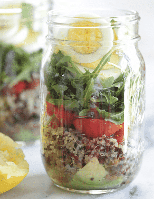 25 Vegetarian Mason Jar Meals to Help You Win at Lunch: Protein Egg and Quinoa Salad Jars