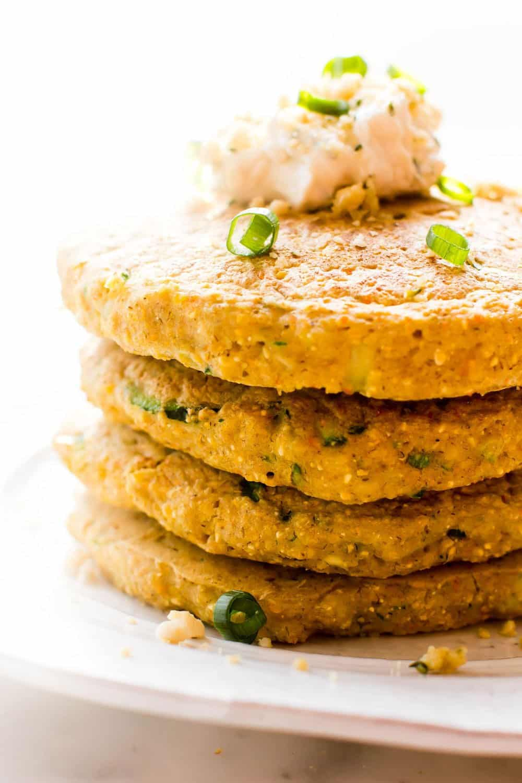 49 Savory Vegan Breakfast Recipes: Zucchini Cornmeal Pancakes
