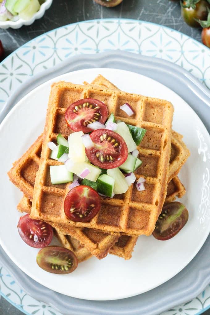 49 Savory Vegan Breakfast Recipes: Crunchy Corn Waffles