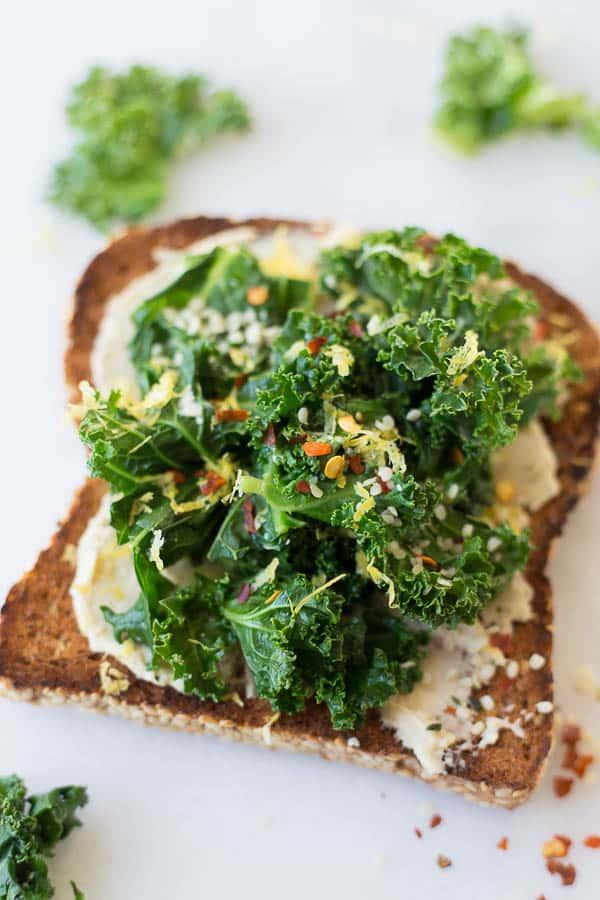 49 Savory Vegan Breakfasts: Hummus Kale Toast