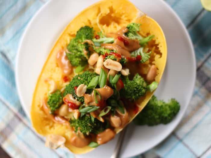 32 Creative Spaghetti Squash Recipes: Thai Peanut and Broccoli Stuffed Spaghetti Squash