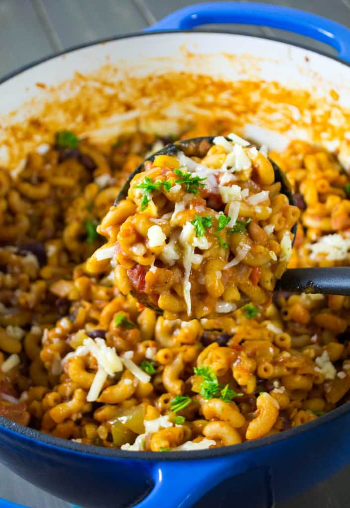 18 Vegetarian One-Pot Pasta Recipes for Busy Weeknights: One Pot Vegetarian Chili Mac