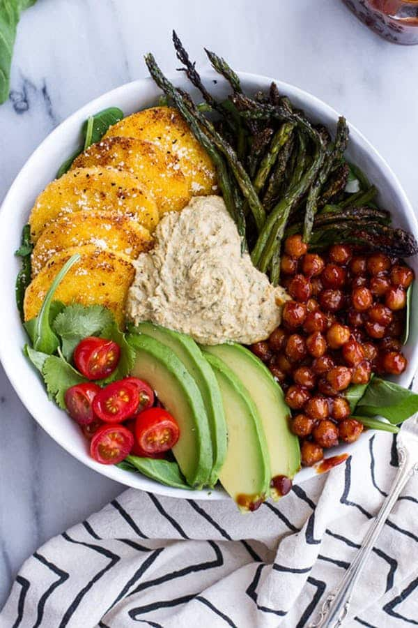 17 Delicious Vegetarian Dinners You Can Make with a Tube of Polenta: Spicy BBQ Chickpea and Crispy Polenta Bowls