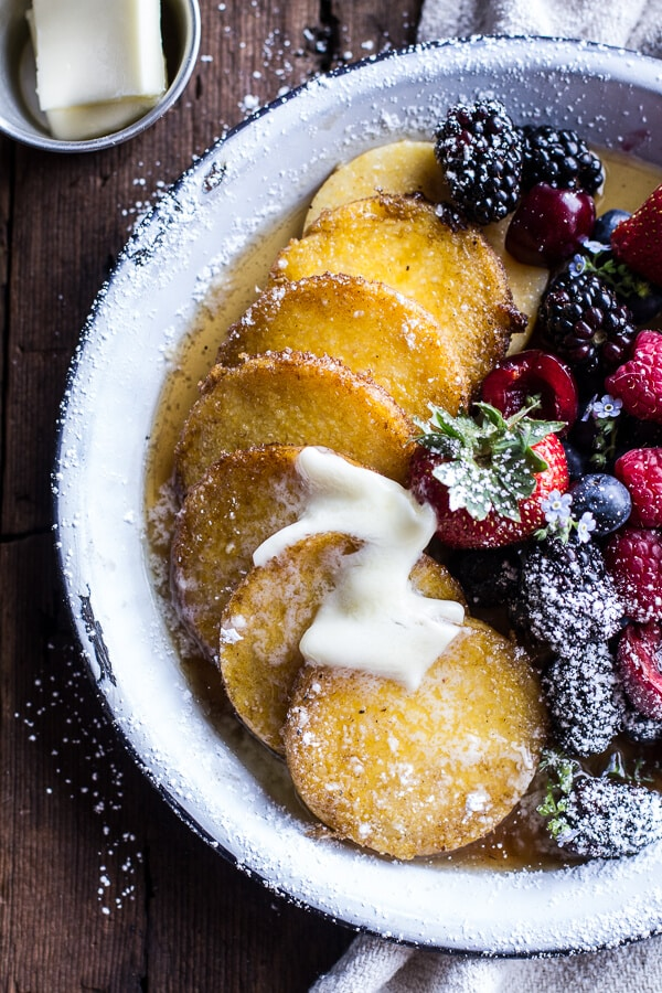 17 Delicious Vegetarian Dinners You Can Make with a Tube of Polenta: Polenta Pancakes with Summer Berries