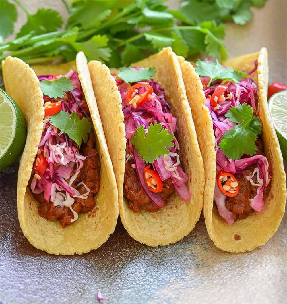 19 Recipes that Swap Lentils for Meat: Enchilada Lentil Tacos with Lime Slaw