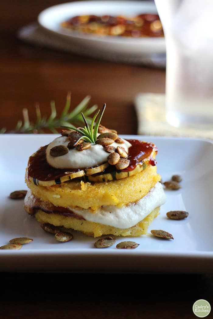 19 Delicious Vegetarian Dinners You Can Make with a Tube of Polenta: Polenta Stacks with BBQ Squash and Cashew Cream