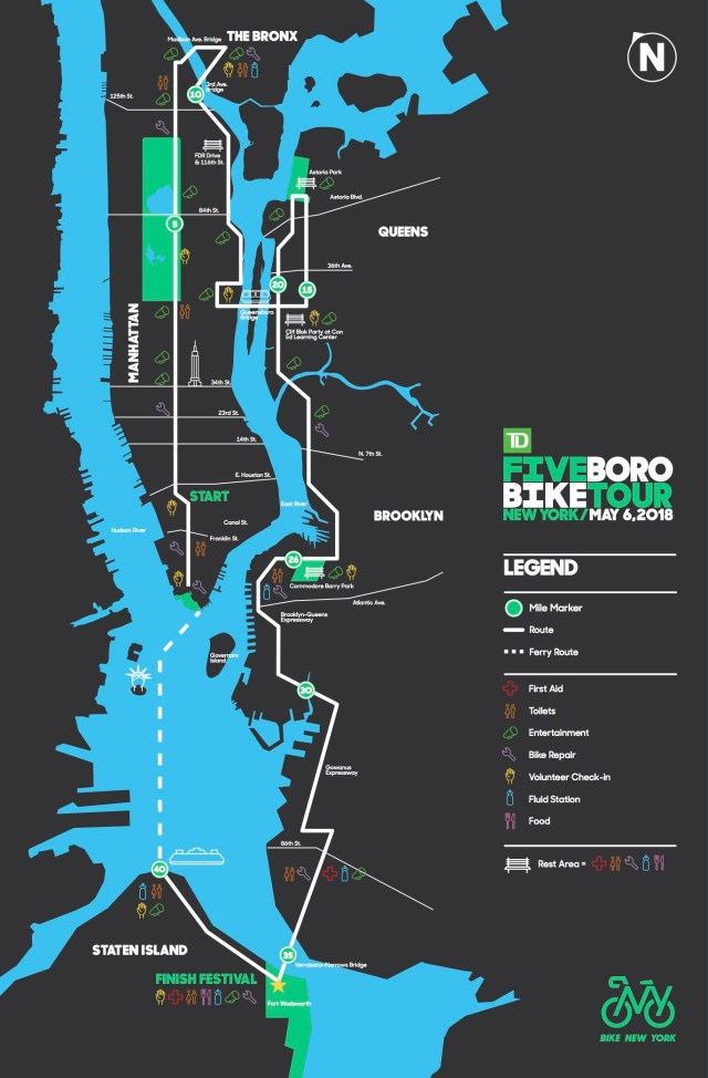 Official 5Boro Bike Tour route map