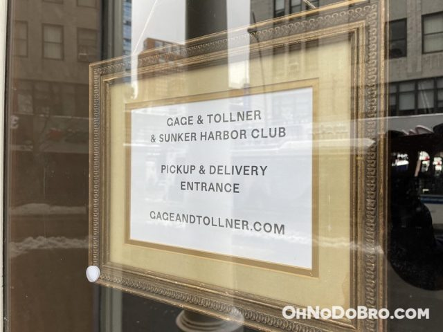 Gage & Tollner pickup and delivery sign