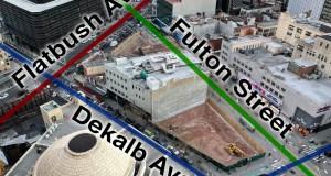 Dekalb/Fulton/Flatbush triangle with labeled streets