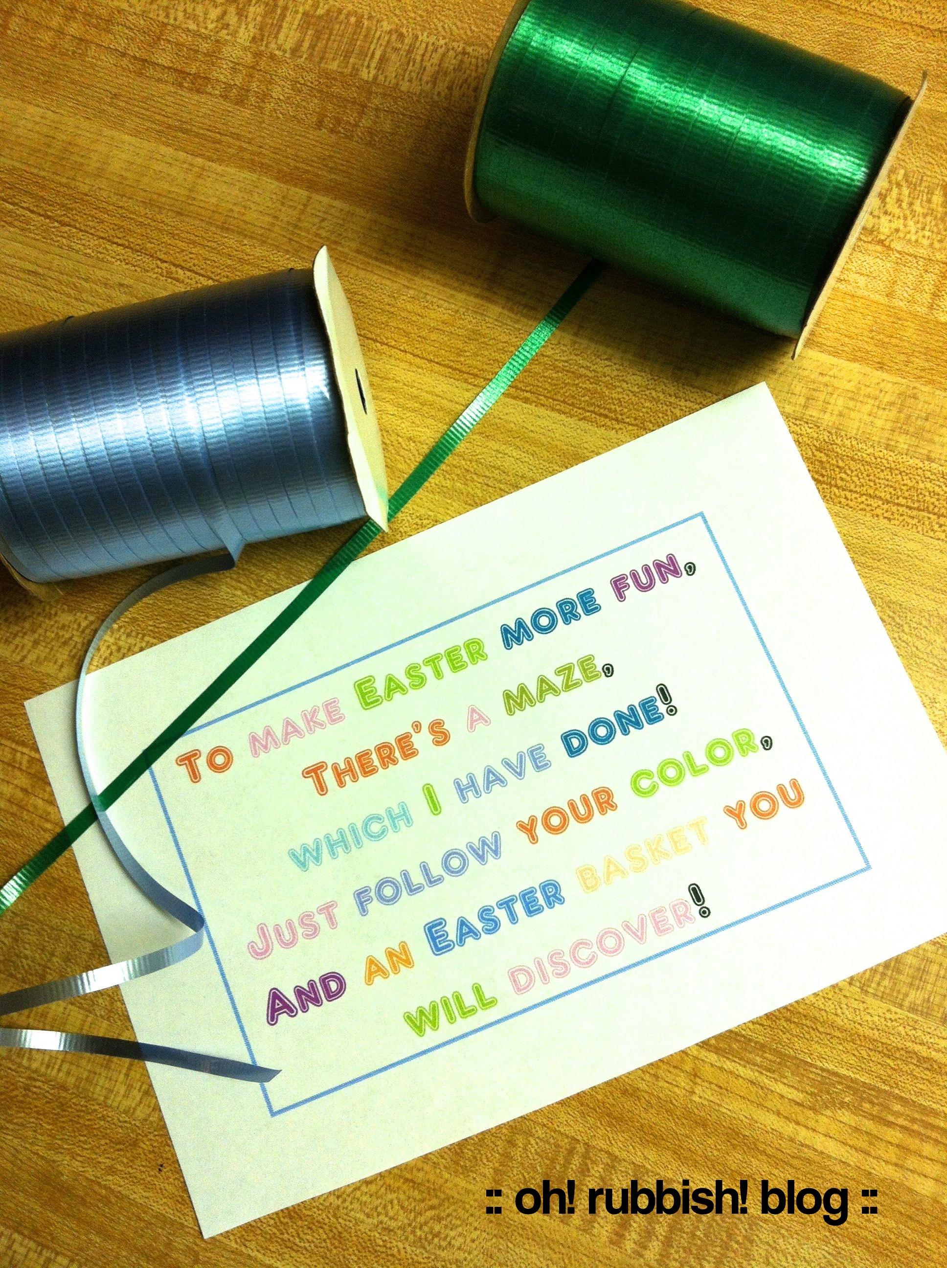 Easter Bunny Maze Kids Easter Basket Ideas Easter Bunny Trails