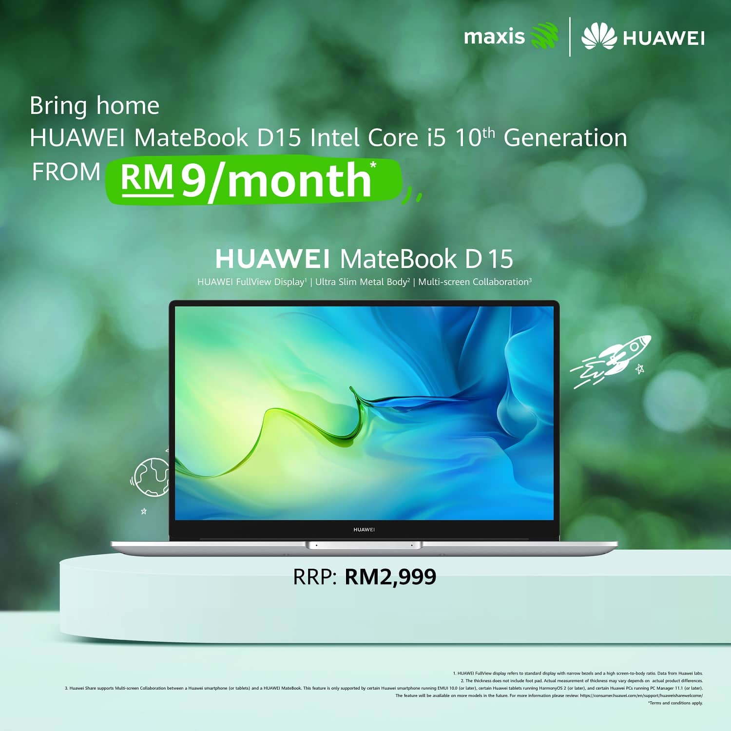 Revolutionise Your Work Life With HUAWEI MateBook D15 And Maxis, Starting From RM9 Onwards