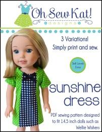 Wellie Wishers Doll sewing pattern Oh Sew Kat Sunshine Dress