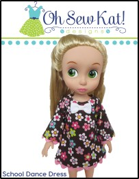 Oh Sew Kat! School Dance Dress for Disney Animator pdf doll dress sewing pattern