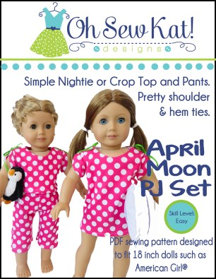 Doll pattern by Oh Sew Kat pajamas and nightgown