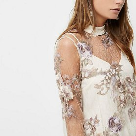 Cream Floral Embroidered Blouse