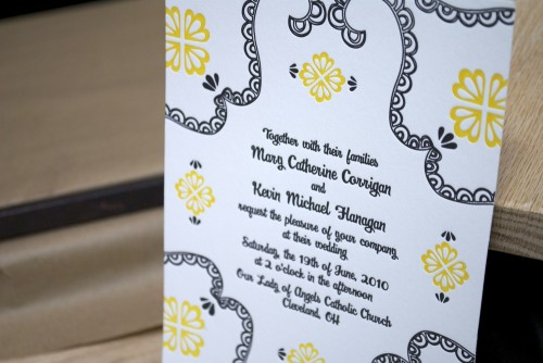 Mary Kevin S Modern Yellow And Black Letterpress Wedding Invitations
