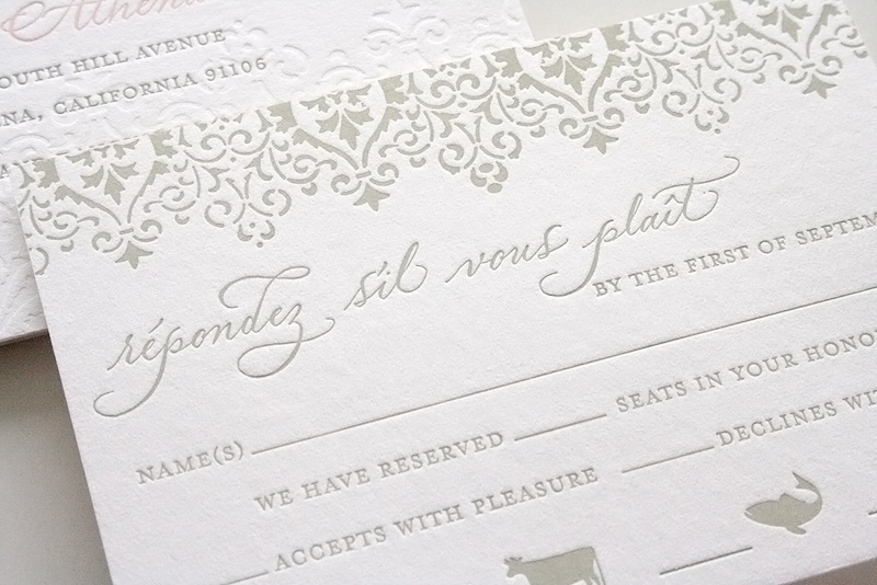 Pink And Gray Clic Wedding Invitation
