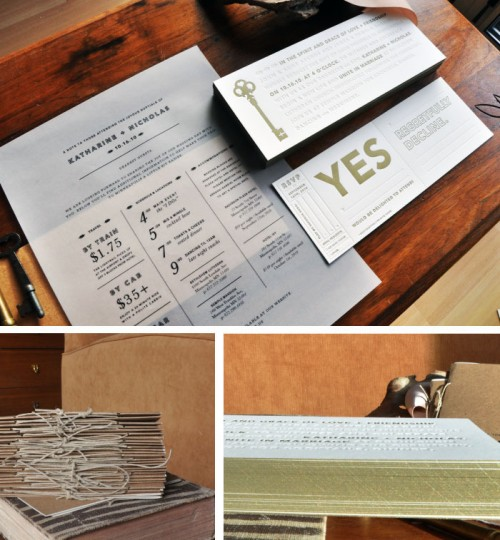 Skeleton Key Letterpress Wedding Invitations by Kate Gabriel