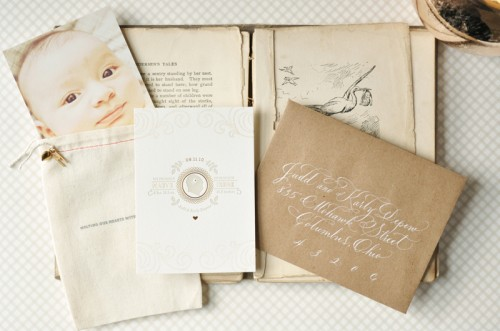 Organic-Gray-Gold-Baby-Announcements