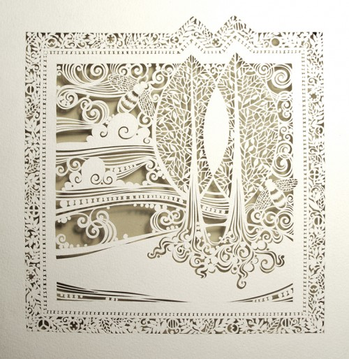 Intricate Cut Paper Design Artwork 500x514