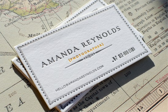 Letterpress Map Business Card Front 550x366