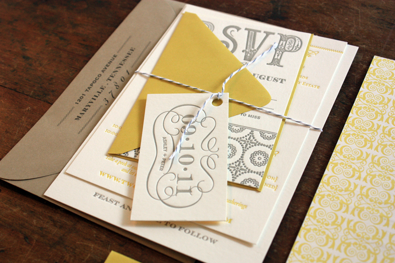 Yellow Gray Patterned Letterpress Wedding Invitations Twine