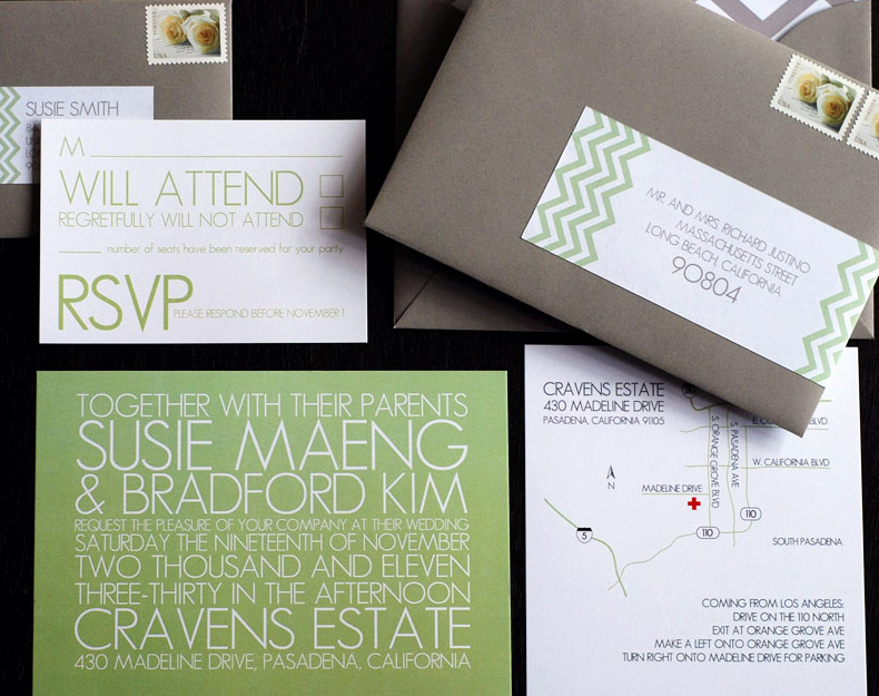 Green White Gray Chevron Stripe Wedding Invitations