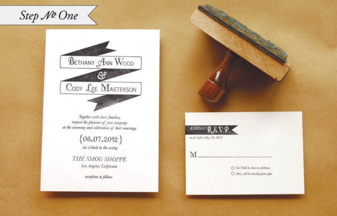 Rubber Stamp Banner Wedding Invitations