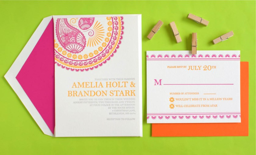 Indian Pattern Letterpress Wedding Invitations Invitation Design