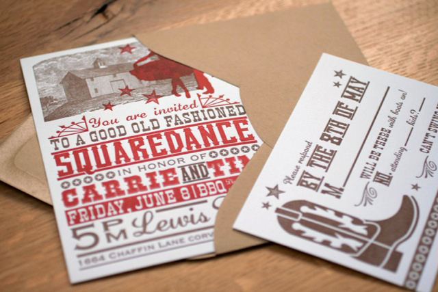 Carrie Tim S Bbq Squaredance Wedding Invitation
