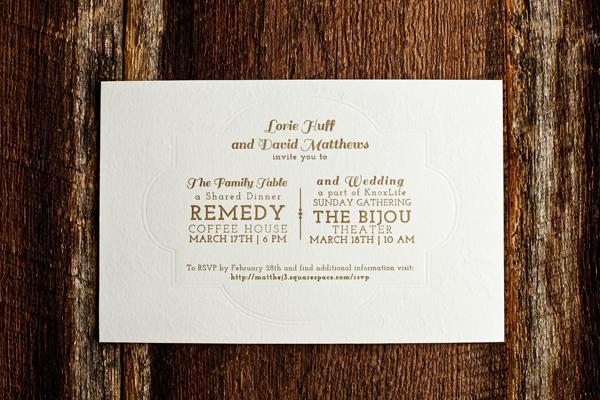 Gold Steam Punk Letterpress Wedding Invitations 4th Year