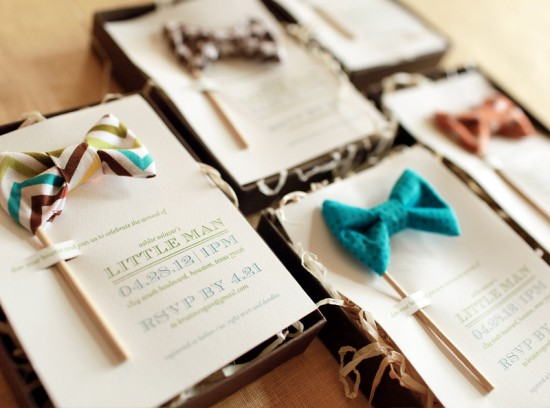 Little Man Bow Tie Inspired Baby Shower Invitations