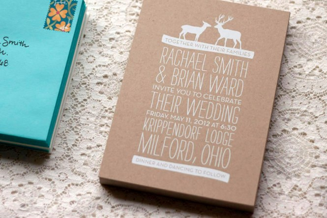Ilrated Wedding Invitation Rustic Kraft Paper