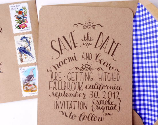 Kraft Paper Calligraphy Save the Dates4 550x435 Naomis Kraft Paper and Calligraphy Save the Dates