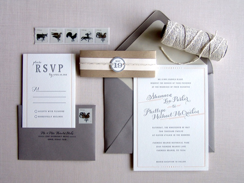 Wedding Invitations In Gray And Pink Invitation Set