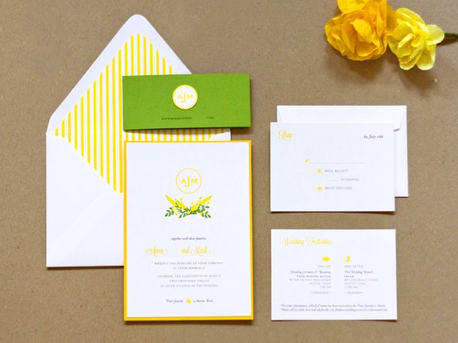 Preppy Yellow And Green Wedding Invitations